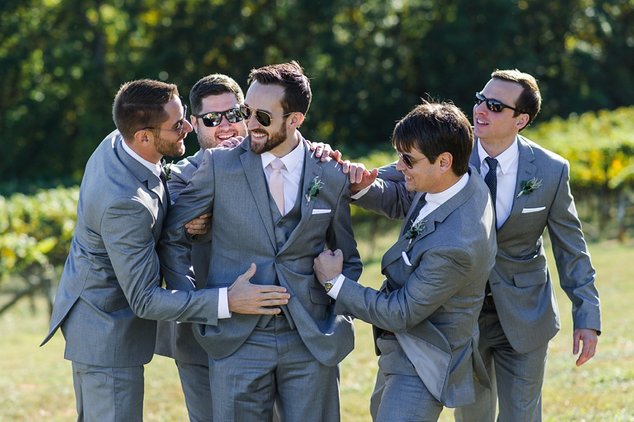 groomsmen playing around and being silly