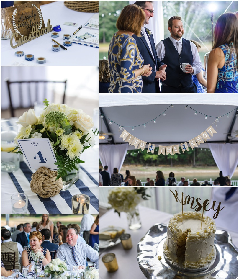 The couple's nautical theme was executed perfectly. I love their knot centerpieces and elegant navy and gold accent colors