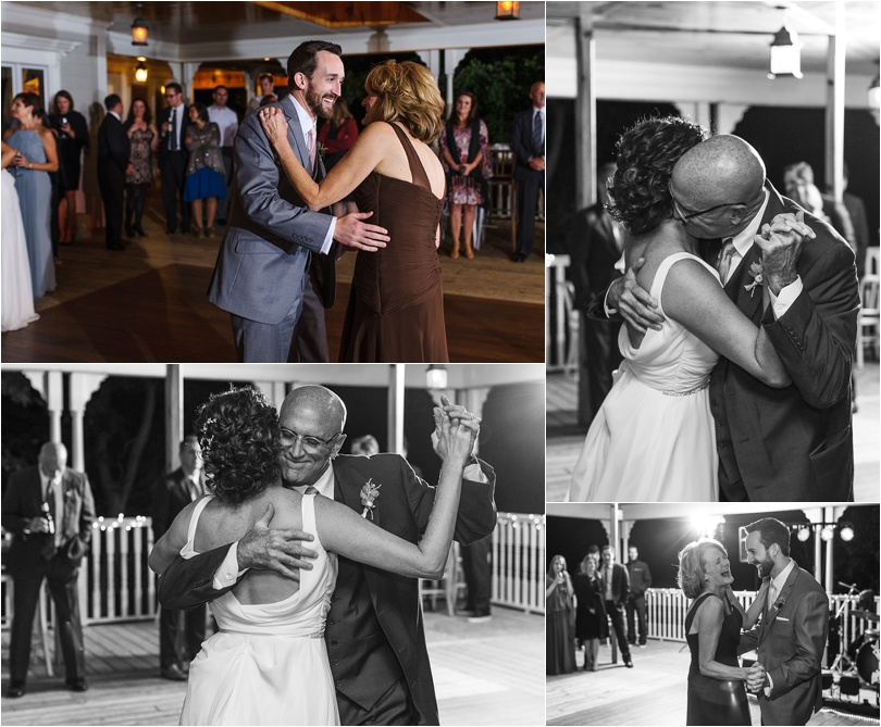 The bride's dad held onto his daughter tight during the father-daughter dance. They swayed to 'My Girl'