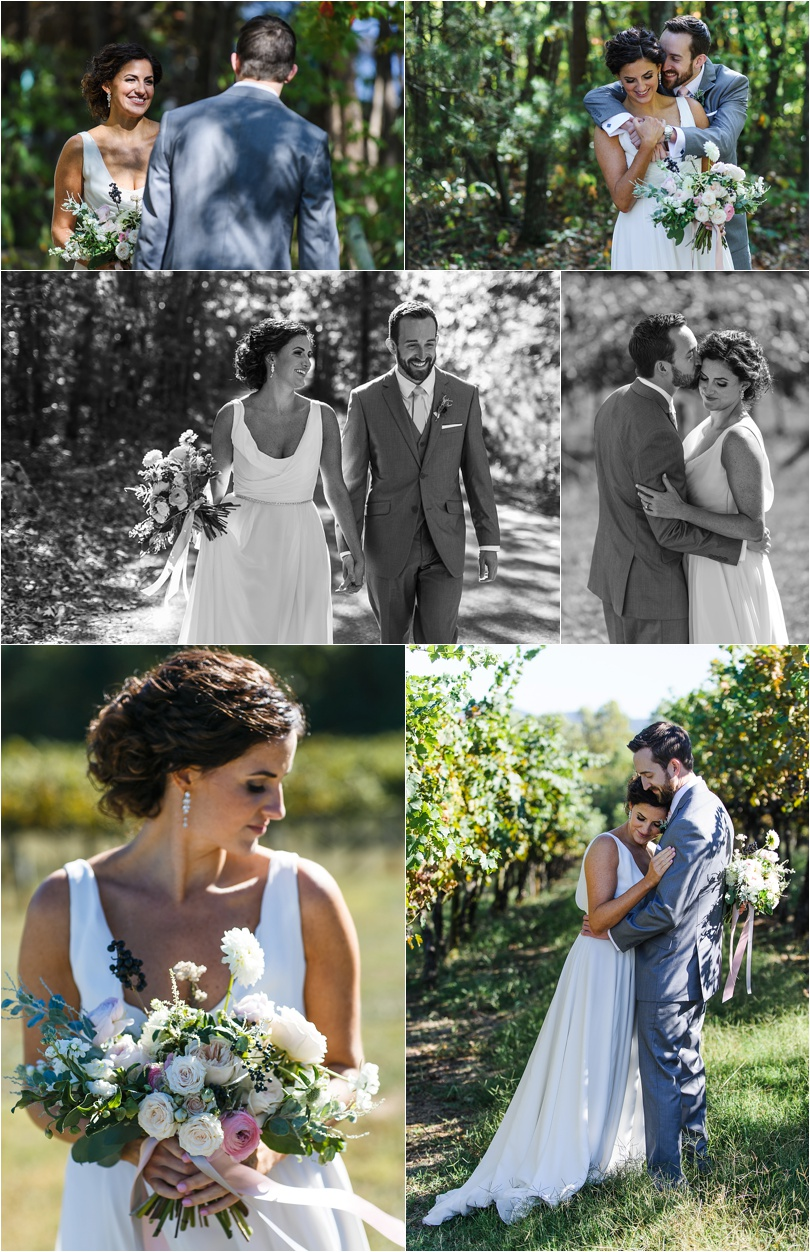 We stumbled upon a gravel road for the couple's first look. Then, we finished up in the gorgeous rows of grape vines