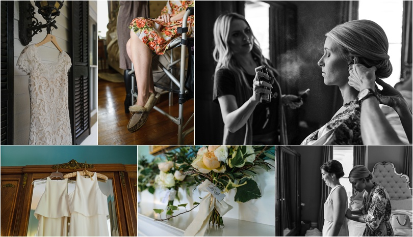 Twelve Oaks Bed & Breakfast has a ton of character and rooms with intricate detail. Rachel got ready for her wedding upstairs.