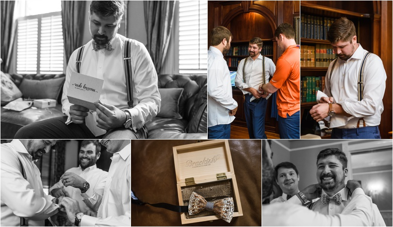 The groomsmen got ready downstairs while watching the Clemson football game. Custom ties made of feathers were a really neat part of the groom's attire.