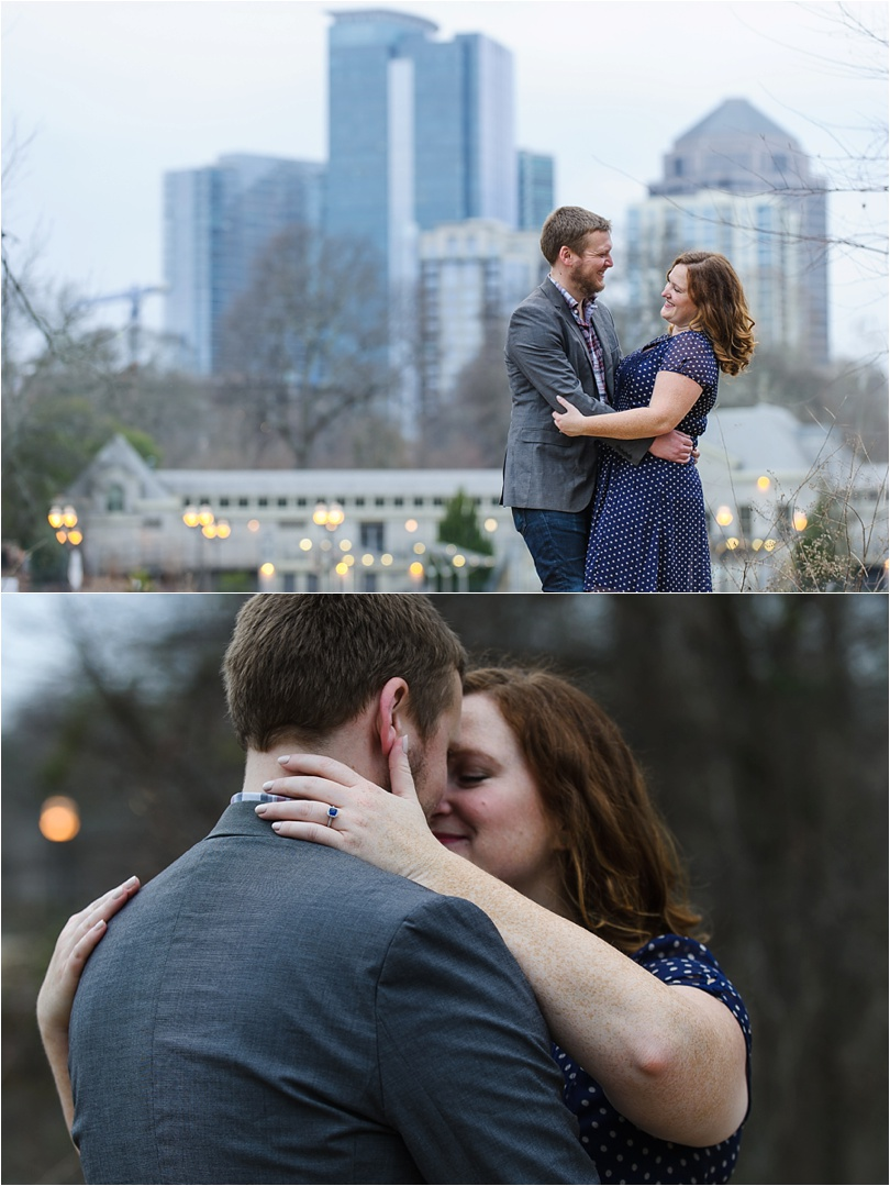dusk engagement photos on an overcast day