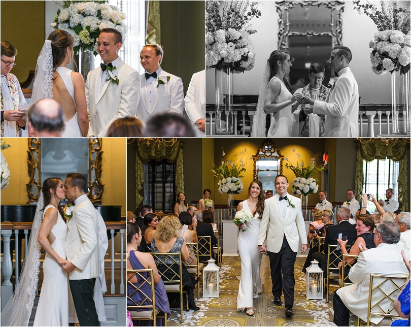 The ceremony was short and sweet, and guests were delivered champagne.